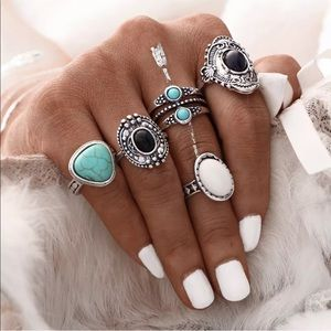 Jewelry - Bohemian Five Piece Silver & Stone Ring Set